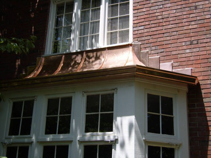 Custom Copper Standing Seam Bay Window Hood Roof With