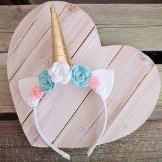 Banda unicornio  Cuerno de oro  Teal blanco rosados flores