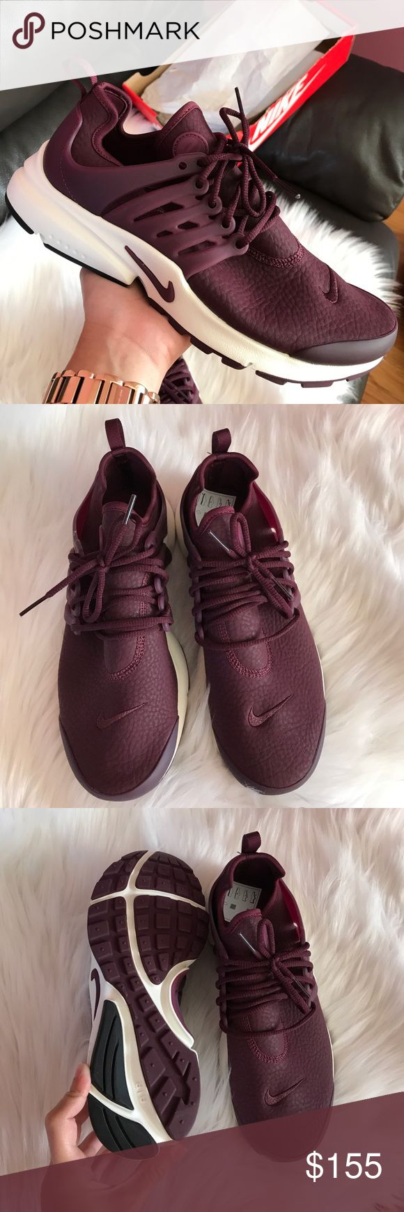 Nike Air Presto Sneakers Woman's Nike Air Presto Sneakers Style: 878071-600 Maroon and white New with original box, no lid UPC and box varies with size  -Price is firm Nike Shoes Sneakers