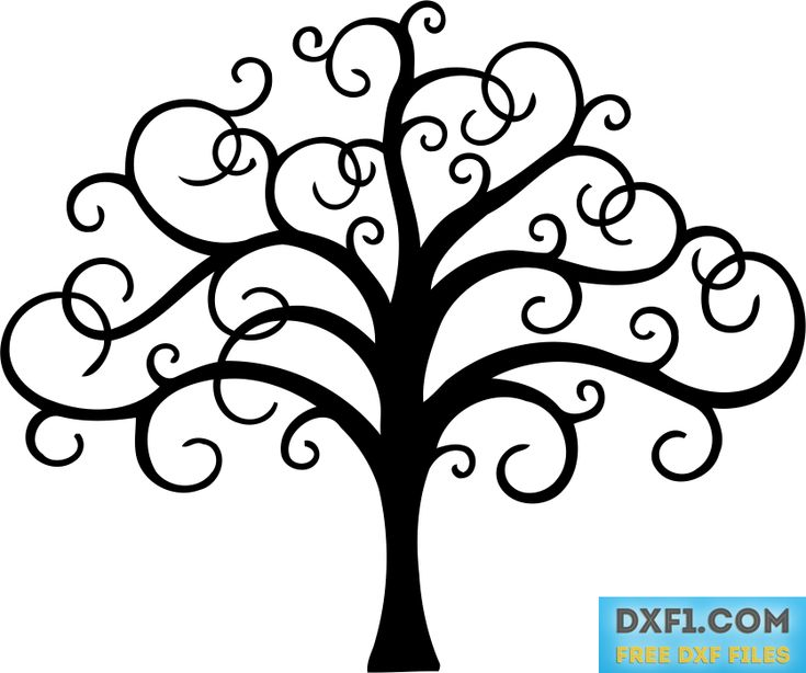Tree with twisted branches file for cutting - FREE DXF FILES. FREE CAD SOFTWARE - DXF1.com