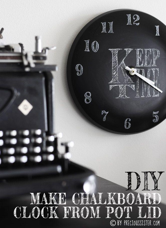 blogpost DIY: MAKE CHALKBOARD CLOCK FROM POT LID