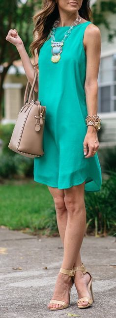 Summer office style tips! Wear a shift dress in a fun color. from tabithadumas.com