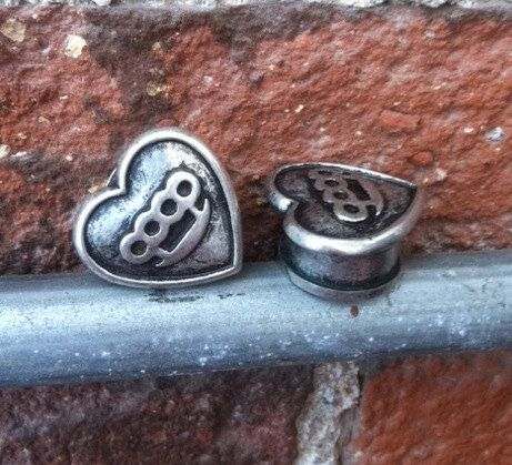 Heart Shaped Gauge Plugs with Brass Knuckles in by STEAMERBRAND, $25.00