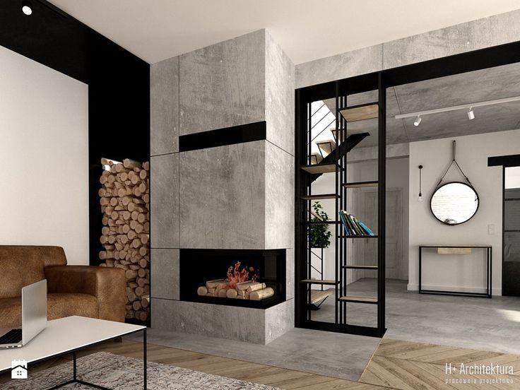 Kominek w salonie - zdjęcie od H+ Architektura