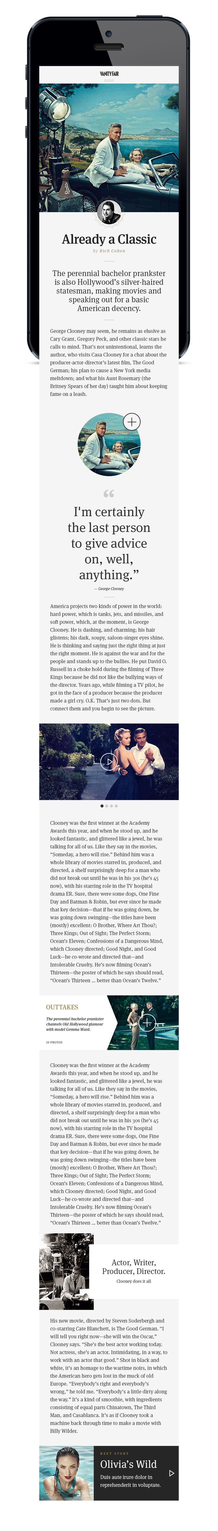 """Vanity Fair *** """"I love Vanity Fair. They employ some of the worlds finest talent. Their content is fantastic. Their mobile site however... quite shit actually. I wanted to just have some fun with it and give it a facelift."""" by Brijan, via Dribbble *** #web #mobile #design #dribbble"""