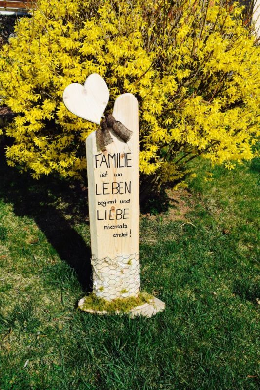 Deko - Holz - Säule - Accessoires - Familie - Liebe / Handgemacht