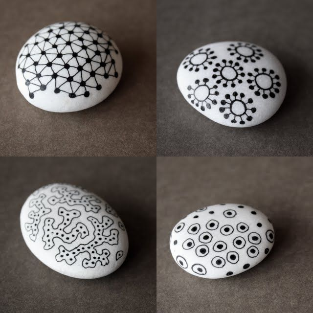 stones - river rock painted white with black designs, doodle, Zentangle.