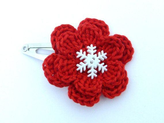 1 Red and white crochet flower hair clip ideal by MyfanwysMakes