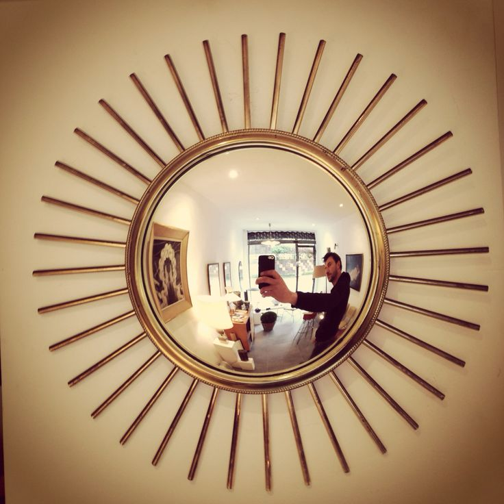 Miroir soleil en laiton dit sorci re 1950 miroir for Miroir laiton