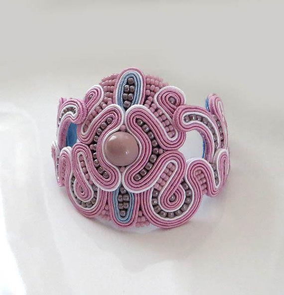 Rose quartz Soutache Cuff Bracelet pale pink Bracelet by sutaszula