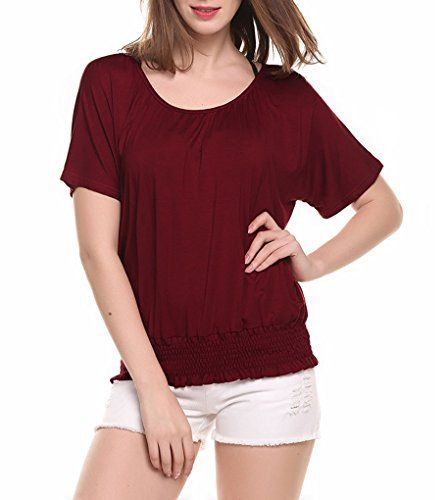 Special Offer: $15.99 amazon.com Made of Soft and Stretchy Fabric, Comfortable to Wear. Material: 95% Polyester and 5% Spandex 3 Colors: Wine Red, Purple, Black Sleeve: Short Sleeve Pattern: Solid Feature: Round neck, batwing short sleeve, solid color. Casual shirring hem dolman top, pull...