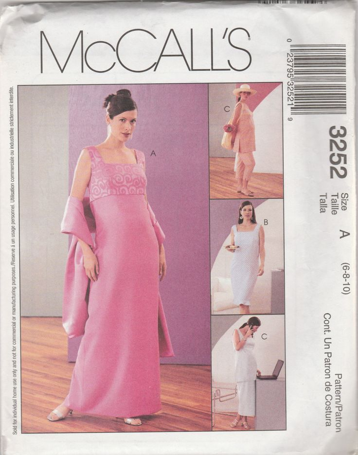 McCall's 3252 Size 6-8-10 or 10-12-14 Misses'/Miss Petite Maternity Dress in Two Lengths, Top, Pull-On Capri Pants, Pull-On Skirt and Stole by LadybugsandScorpions on Etsy