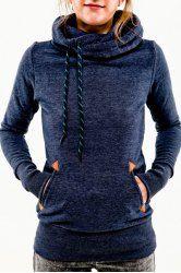 Stylish Hooded Long Sleeve Pocket Design Embroidered Hoodie For Women (PURPLISH BLUE,M)   Sammydress.com Mobile