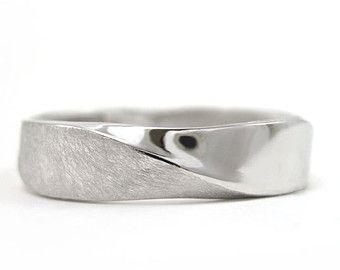 Mobius Wedding band - 5mm Mobius Ring In 14k White Gold, Mobius Wedding Ring, Modern & Contemporary, Mens Wedding Band