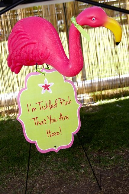 "Flamingo theme birthday party; ""I am tickled pink that you are here"" party welcome sign"