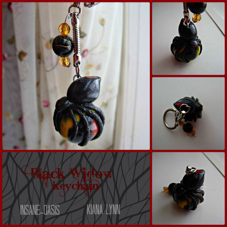Black widow resting on a marble keychain. The spider is made from polymer clay with acrylic paint accents.