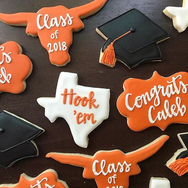 I Loved Making These Ut Graduation Cookies I Wish I Had Some Cool Cookies When Cookies Cool Graduation Graduation Cookies Longhorn Party Austin Party