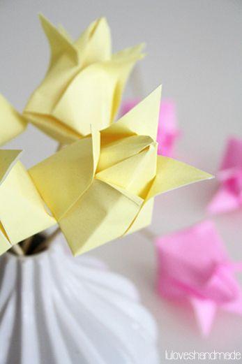 luloveshandmade, diy, handmade, easter, origami, paper tulip, flower, paper flower