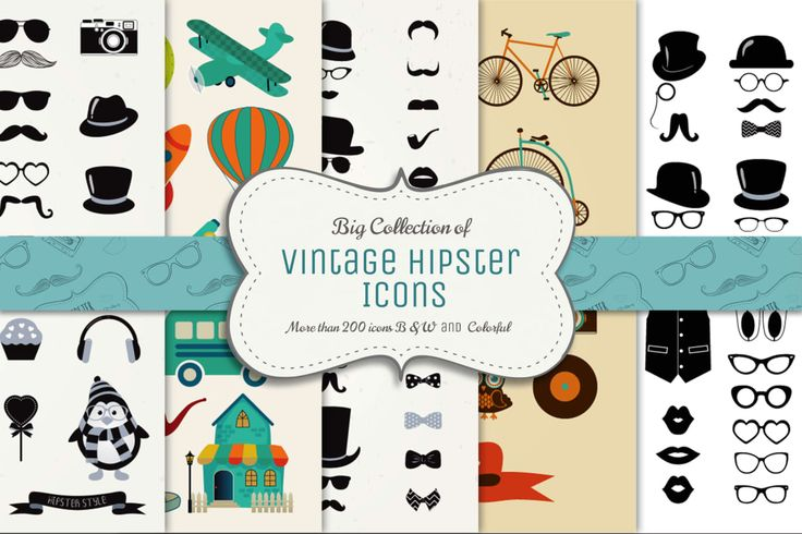 Big Collection of Vector Vintage Icons by helga_helga on Envato Elements