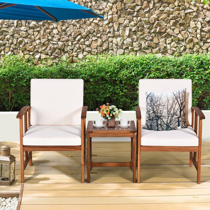 Gymax 3PC Outdoor Patio Sofa Furniture Set Solid Wood
