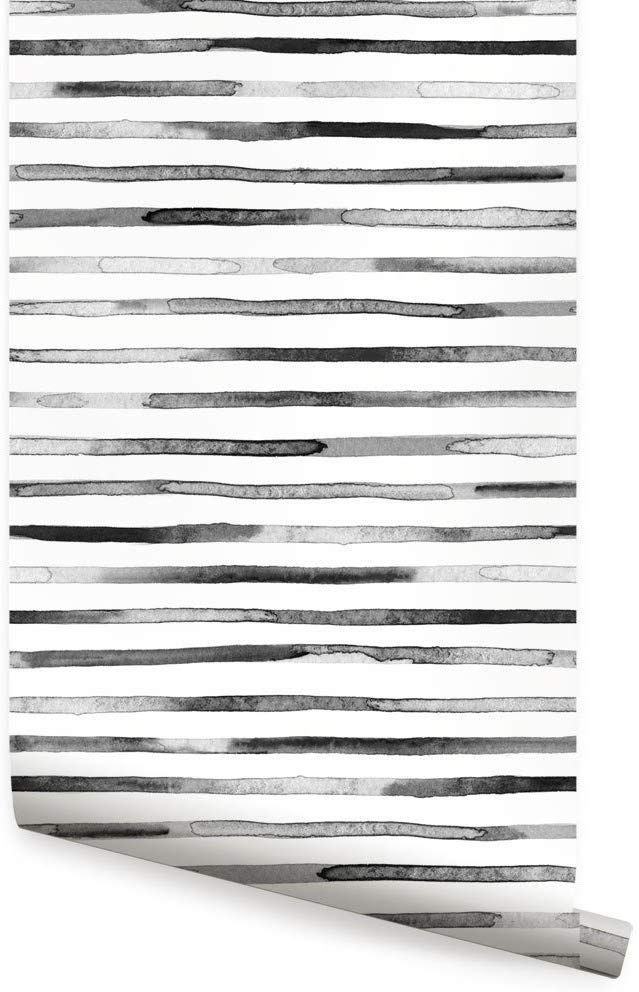 Watercolor Stripes Wallpaper Black White Peel And Stick By Simple Shapes Single Sheet 2ft X 4ft Striped Wallpaper Striped Wallpaper Black Simple Shapes