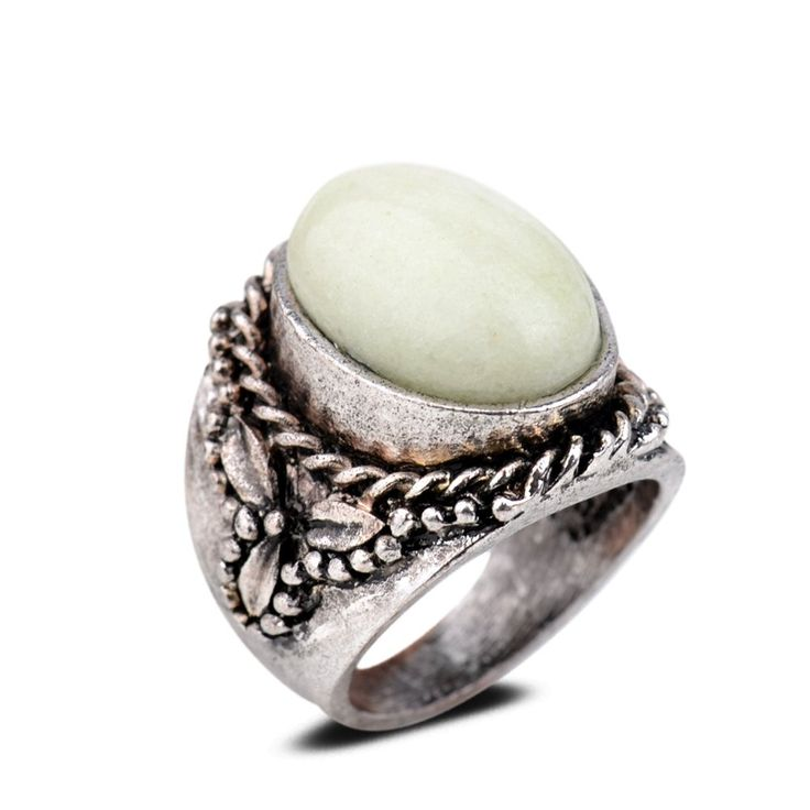 Smile_Jewelry Oval Carved Lady Ring #6.5 8 9 Silver Plated Light Yellow Jade Party Jewelry 6.5: