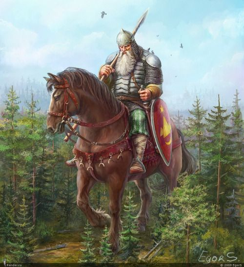 "Svyatogor (Russian: Святого́р) is a Kievan Rus' mythical bogatyr (knight/hero) from bylinas. His name is a derivation from the words ""sacred mountain"". Svyatogor's tale, Ilya Muromets and Svyatogor, is a part of the Ilya Muromets cycle.  After becoming a bogatyr of knyaz Vladimir the Bright Sun (Владимир Красное Солнышко, Vladimir Krasnoye Solnyshko), Ilya rides off to challenge Svyatogor, despite being forewarned not to do so by pilgrims who had miraculously healed him."