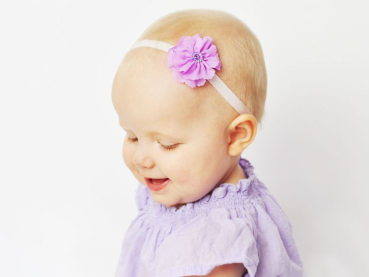 Last few of this gorgeous baby headband!  Headbands for infants with little hair is a way to dress up baldy girls like this beauty who is 18 months old and still hardly any hair!  Beautiful scalloped edge sheer fabric in bright beautiful colours. Approximately 4.5 cm in diameter (snowdrop flower) comes available in two sizes