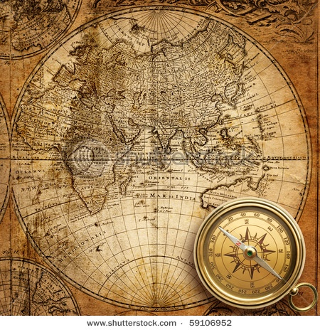 A glorious vintage map with matching compass