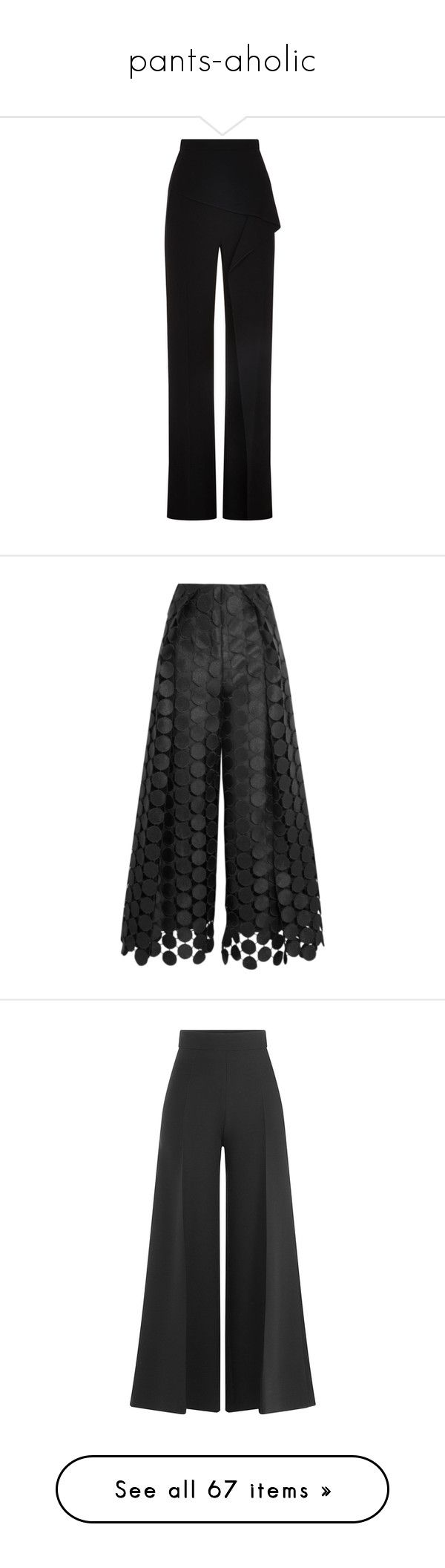 """pants-aholic"" by heliaamado on Polyvore featuring pants, wide-leg trousers, wide leg pants, tailored trousers, peplum pants, roland mouret, trousers, black, wide-leg pants e pleated trousers"