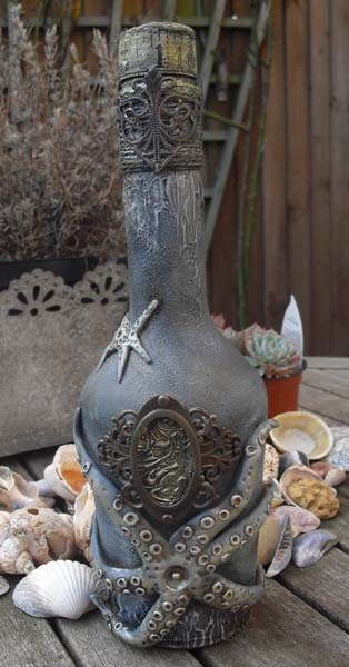Altered Bottle. This would be a perfect on an altar to represent Water.