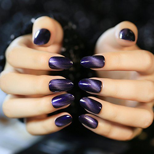 Yunai Art Nail Purplish Cat Eye Effect Texture Fake Nails Gel Nail Polish Manicure Tips 24pcsset