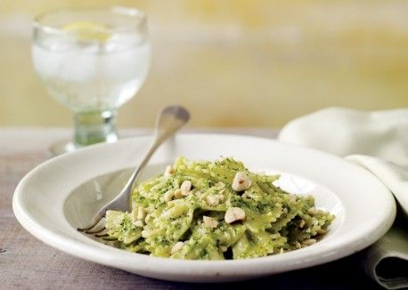 Broccoli Hazelnut Pesto - vegetarian dinner! (Vegan if you don't sprinkle it with Parm!)