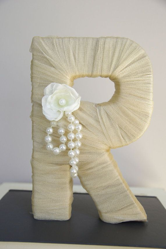 """Tulle wrapped letter """"R"""" - wedding decoration, table centerpiece, photography prop. $30.00, via Etsy."""