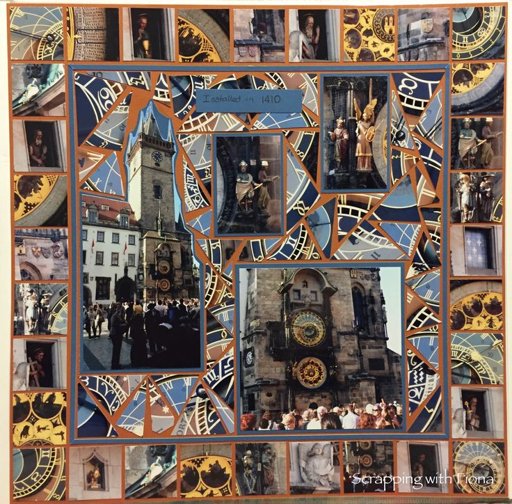 The astronomical clock in Prague. This was an amazing site.  There is so much detail  on the clock and I think I took at least one photo of everything. ;)  I could have made 1/2 an album just with the photos of the clock, so I made a mosaic instead! #scrapbooking #scrapbookinglayout  #scrapbookingideas