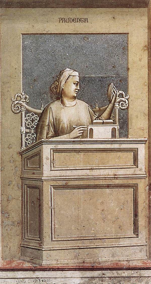 The Seven Virtues: Prudence    1306  Fresco, 120 x 60 cm  Cappella Scrovegni (Arena Chapel), Padua  Giotto