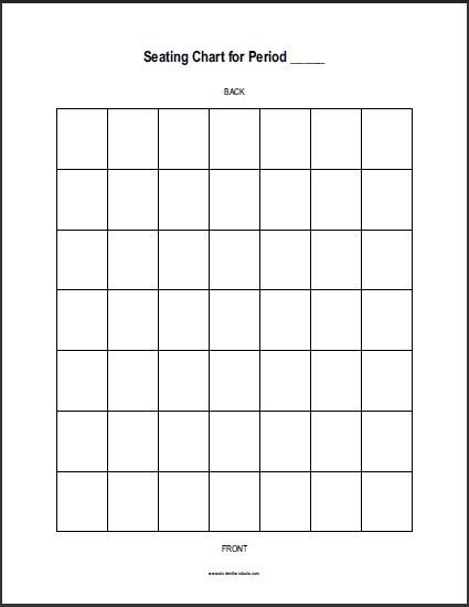 Free Printable Vertical Classroom Seating Chart