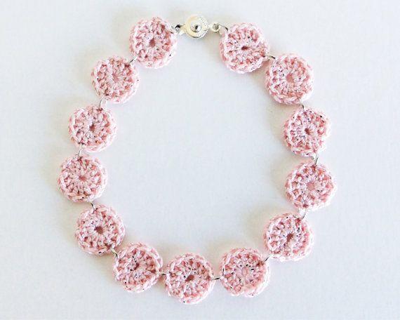 Pastel Pink Crochet Anklet
