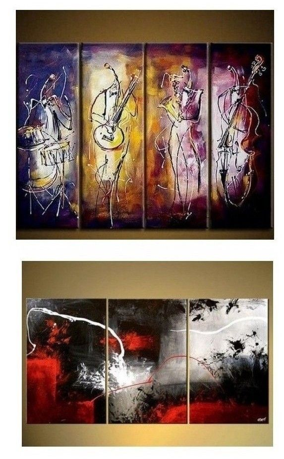 4 Piece Wall Art Music Player Painting Extra Large Canvas