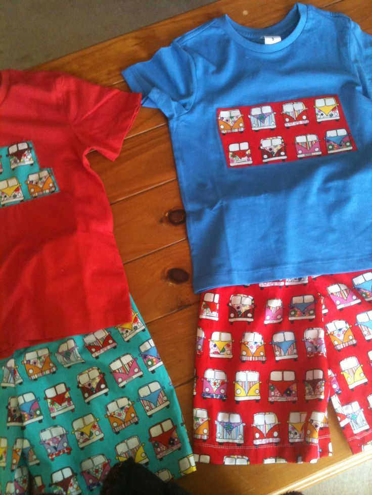 VW Kombi PJs that I made for 3 year old grandson. He loves kombis and this print is so cute. Could be made as board shorts also for little boys.