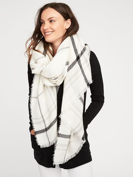 Flannel Blanket Scarf for Women in Cream Plaid (White)
