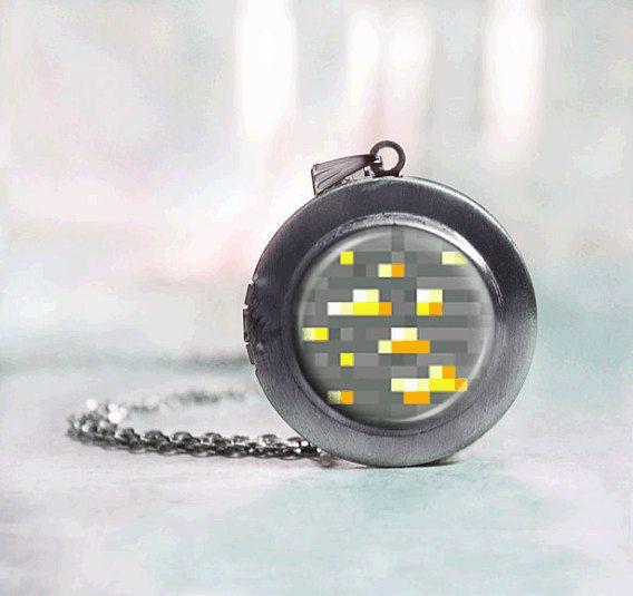Minecraft Gold Ore locket necklace, geekery Jewelry $18
