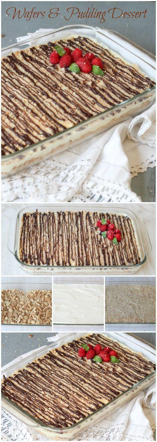 Easy, no-bake pudding dessert with vanilla wafers. ValentinasCorner.com