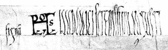 LES ARCHIVES DE L'ABBAYE DE SAINT-FLORENT: rouleaux du XI°s: 5 feuilles de parchemin fortement retouchés. Acte de 824 avec imitation du monogramme de LOUIS LE PIEUX (HLUDOVICUS)- LOUIS 1°. 7) PERIODE DES REVOLTES ET GUERRES CIVILES. 7.6: GUERRE CIVILE DE 834 ET RETABLISSEMENT DE LOUIS LE PIEUX, 2: Une armée est rassemblée à Langres. LOTHAIRE réussit à s'emparer de Chalon, où sont exécutés GAUCELME et GAUBERGE, frère et sœur de BERNARD DE SEPTIMANIE.