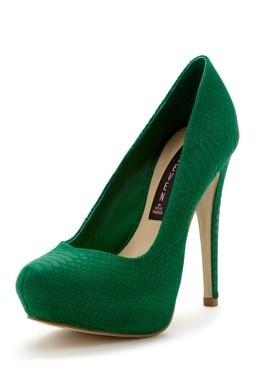 emerald green pumps <3; color, texture... height? :/