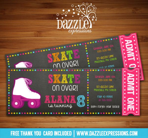 Printable Chalkboard Roller Skating Ticket Birthday Invitation - Digital File - Roller Blades - Rollerskating - Skates - Girl Birthday Party Idea - FREE thank you card
