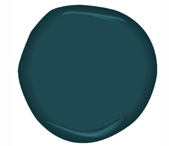 Ben Moore Dark Harbor. Deep rich peacock-turquoise would look goreous w/ a creamy camel colored leather chair. Mix it w/ golden yellows, brass fixtures, creamy accents and warm honey wood finishes.