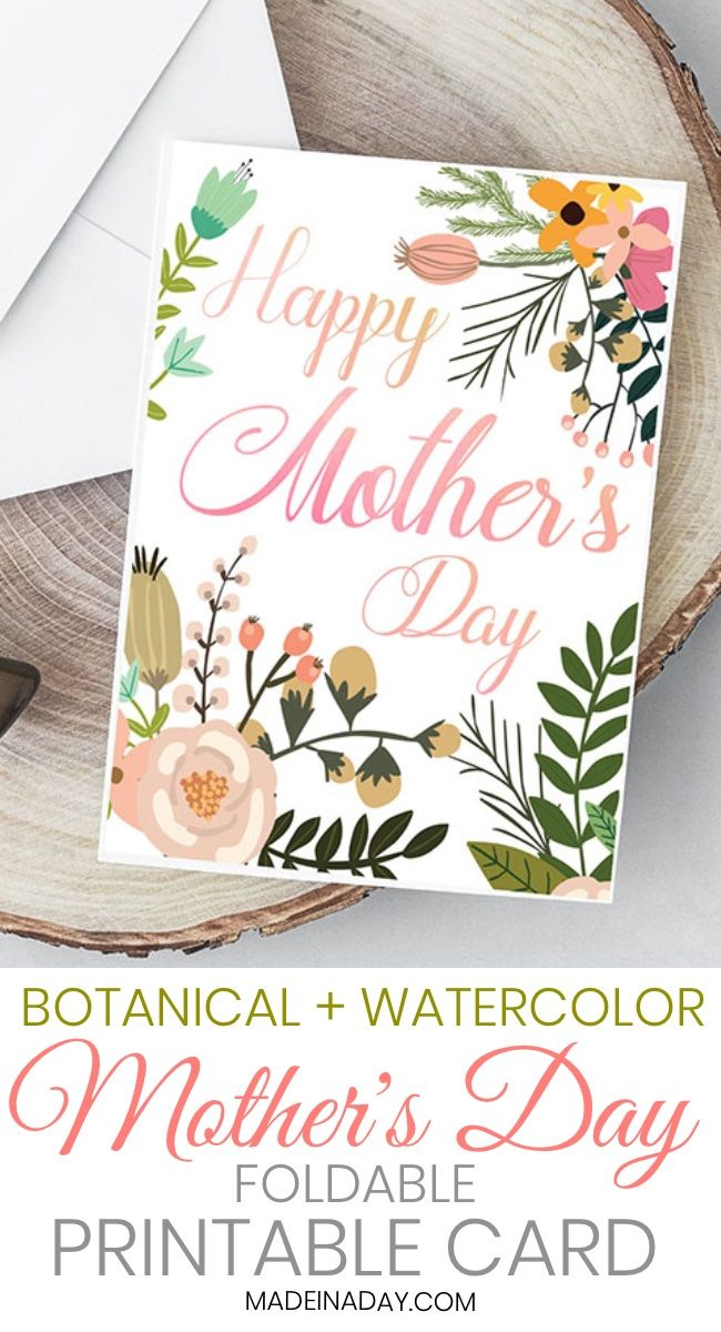 Beautiful Botanical Foldable Mother S Day Card Printable Mothers Day Card Template Mothers Day Cards Printable Happy Mother S Day Card