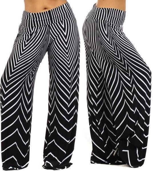 PLUS SIZE WIDE LEG PANTS Palazzo High Waist Chevron Zig Zag Print 1X 2X 3X