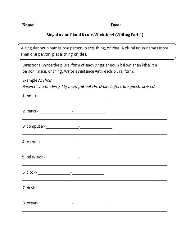 Writing with Singular and Plural Nouns Worksheet